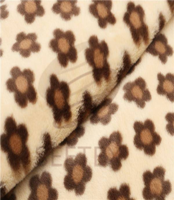 plum blossom printed rabbit faux fur/fake fur