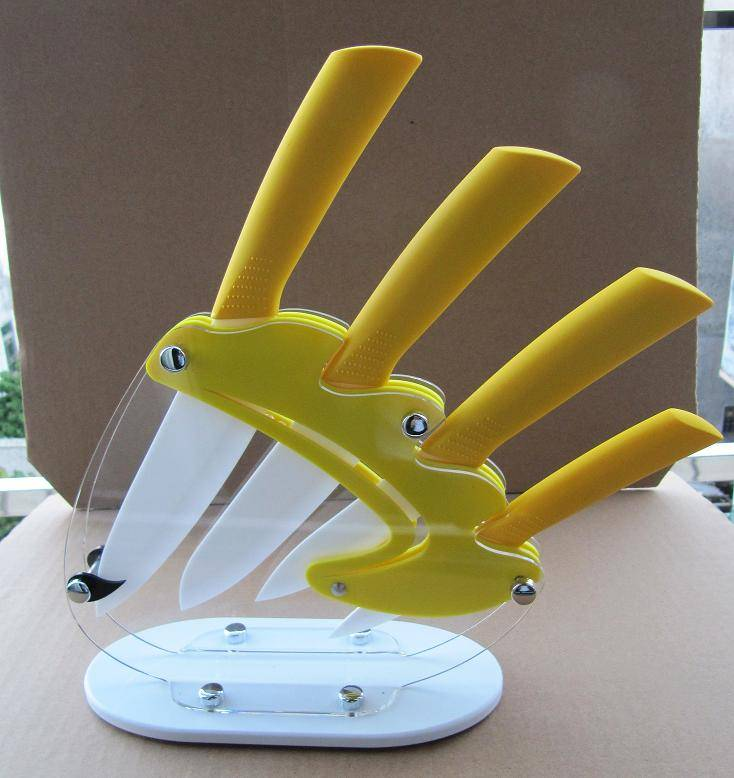 Horizontal Ceramic Knifes with yellow ABS handle and PMMA Knife holder hot sale