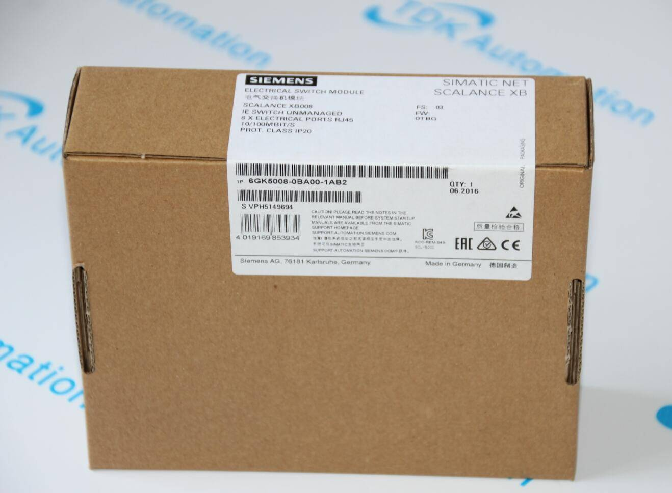 SIEMENS 6GK5008-0BA00-1AB2 SCALANCE XB008 IE AWITCH UNMANAGEO ELECTRICAL SWITCH MODULE