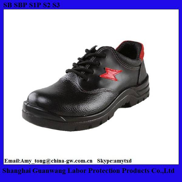 Mid Cut Full Grain Leather Safety Working Shoes
