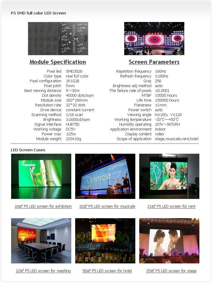 Selling Indoor P5 SMD 1R1G1B LED screen