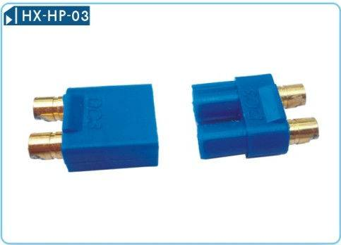 3.5mm gold plated connector with blue DC3 plastic housing