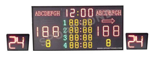 Electronic basketball scoreboard with shot clock