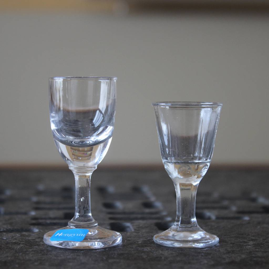 High quality white wine glass and shot glass