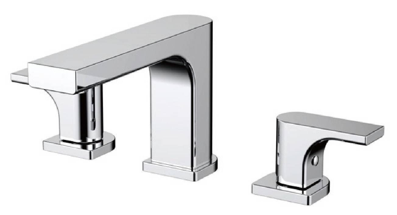 New design chrome brass 3 holes bathroom lavatory faucet
