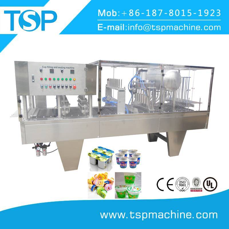 Automatic roll film cup filling and sealing machine for water,milk,ice cream
