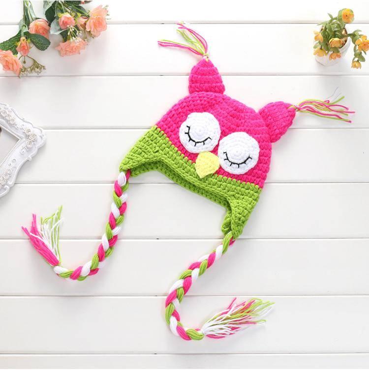 Baby's Handmade Knitted Night Owl Hat Soft Crochet Caps