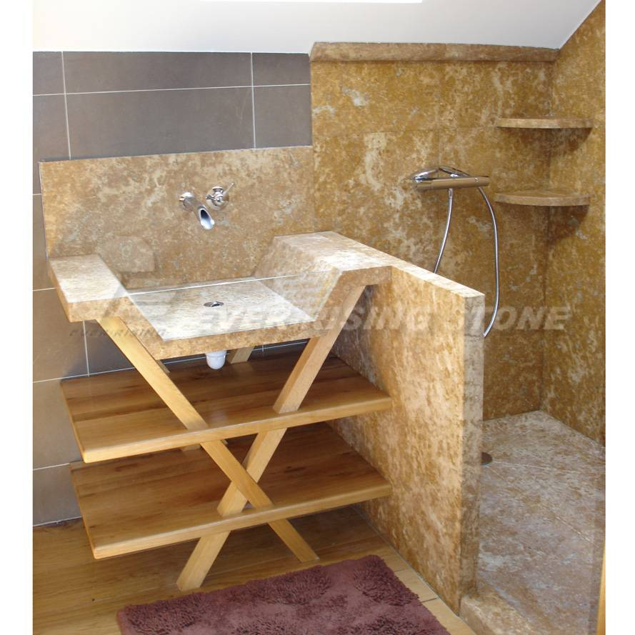 Beige Limestone Shower Pan, Vanity Sink Shower Surround