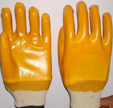 Yellow PVC coated/dipped work glove,interlock liner,knit wrist