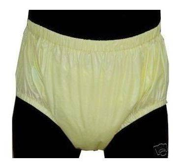 2201-ADULT BABY DIAPERS INCONTINENCE PLASTIC PANTS-Yellow
