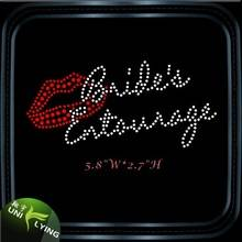 Bride entourage red lip iron on rhinestone transfer designs