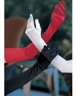 Sexy Long Stretchy Evening Gloves Opera Style, White / Red