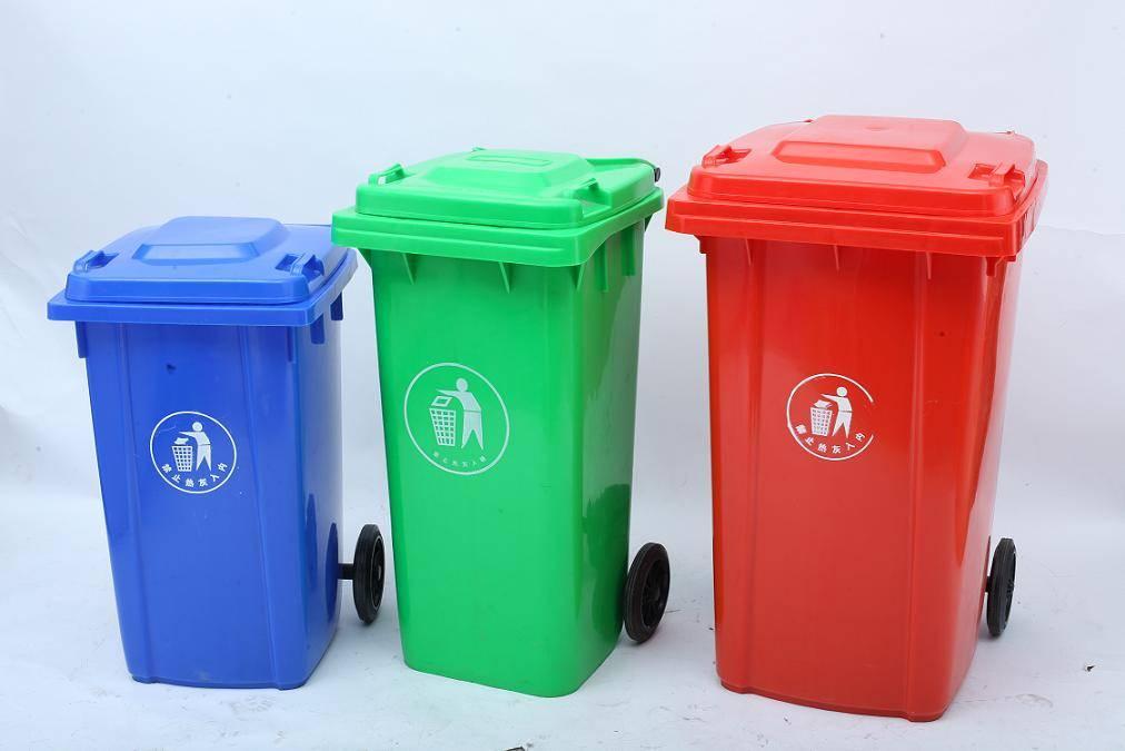 Outdoor plastic garbage bin, dustbin, trash can, litter bin with lid and wheels