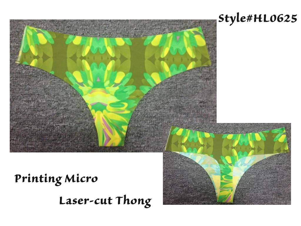 New Hot Printing Microfiber Thong, Printed Sexy Thong, Sexy laser cut thong, Underpants, Underwear