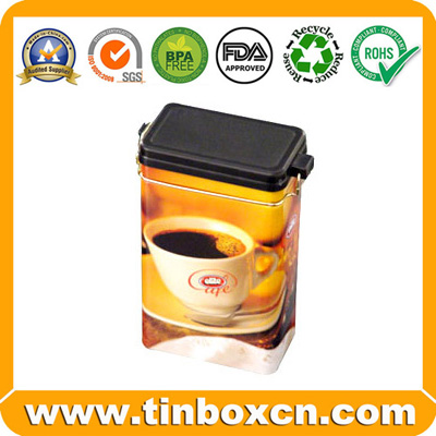 Sell coffee tin with airtight lid and metal mechanism,tin coffee box,tin coffee can,coffee packaging