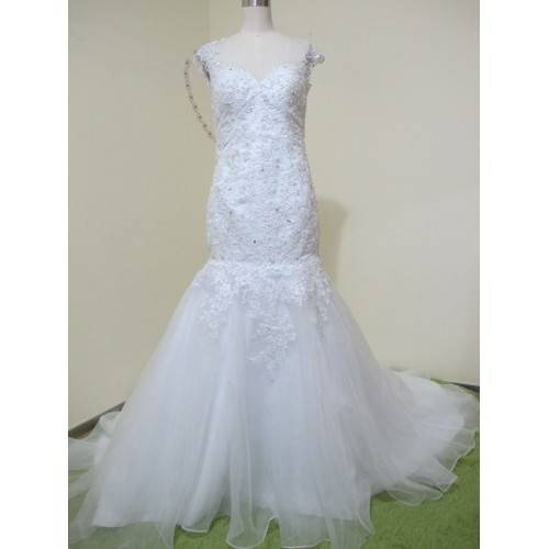 ELEGANT MERMAID TULLE&SATIN BATEAU NECKLINE SEQUINS BEADING&CRYSTALS CAP SLEEVE CHAPEL TRAIN WEDDING