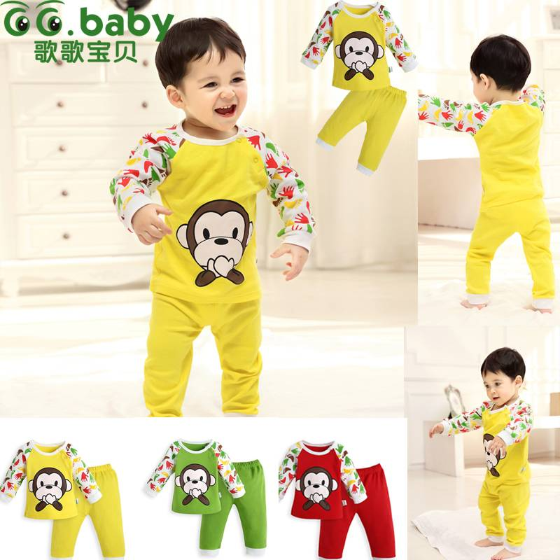 2015New 100%Cotton Spring Autumn Baby Boy Clothing Sets Fashion Monkey Babies