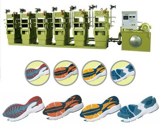 Automatic rubber sole molding press