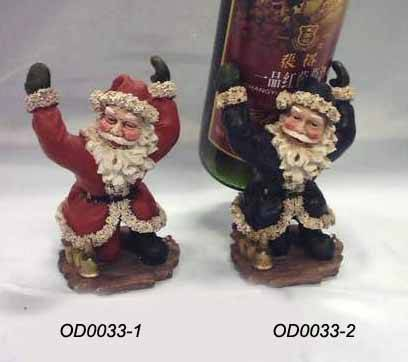 Poly resin Santa Claus wine stand