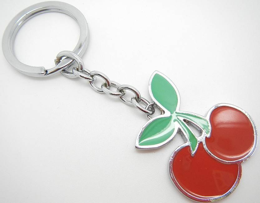 hot sale cherry charms alloy keychains