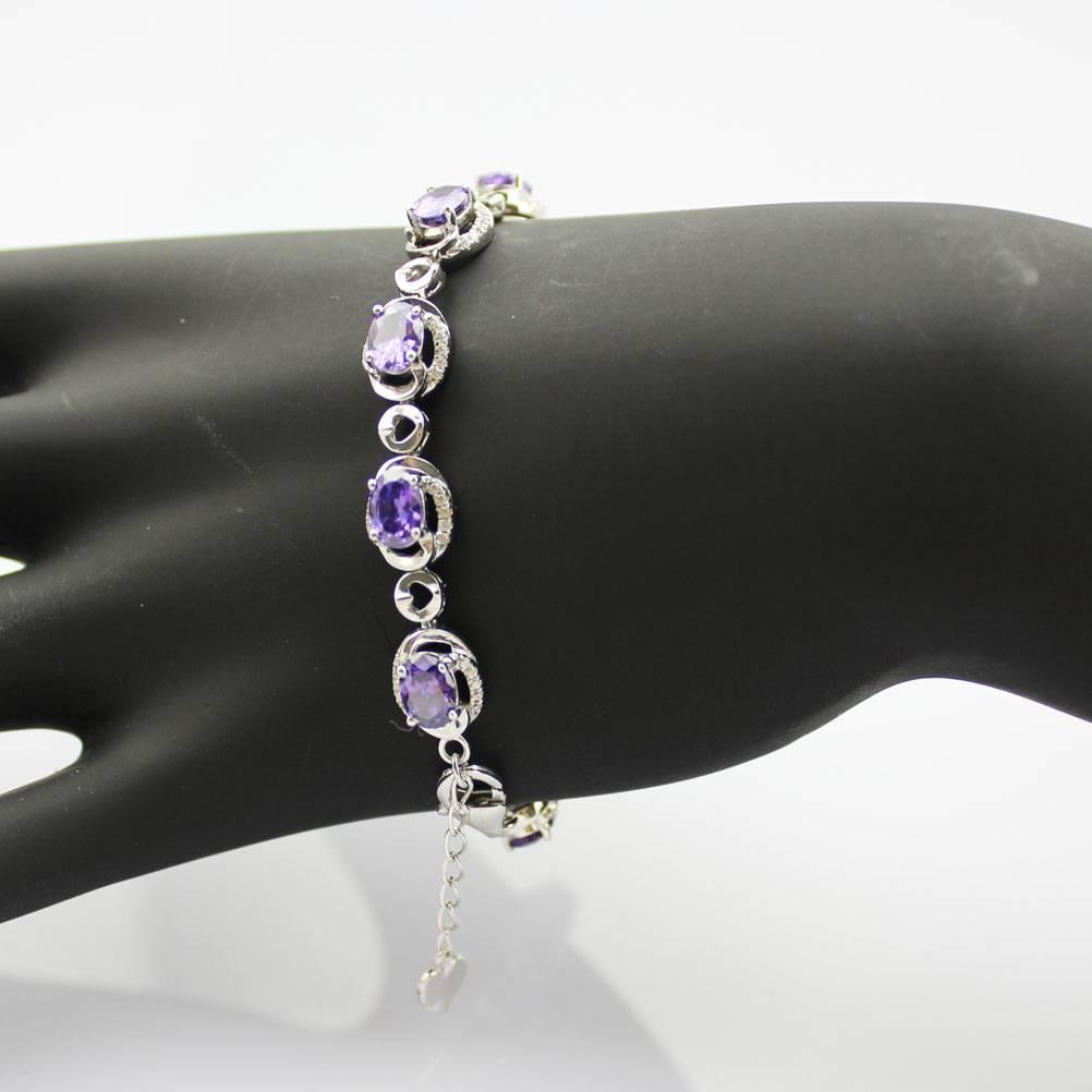 925 Silver Jewelry with Amethyst Cubic Zircon Bracelet (B06)