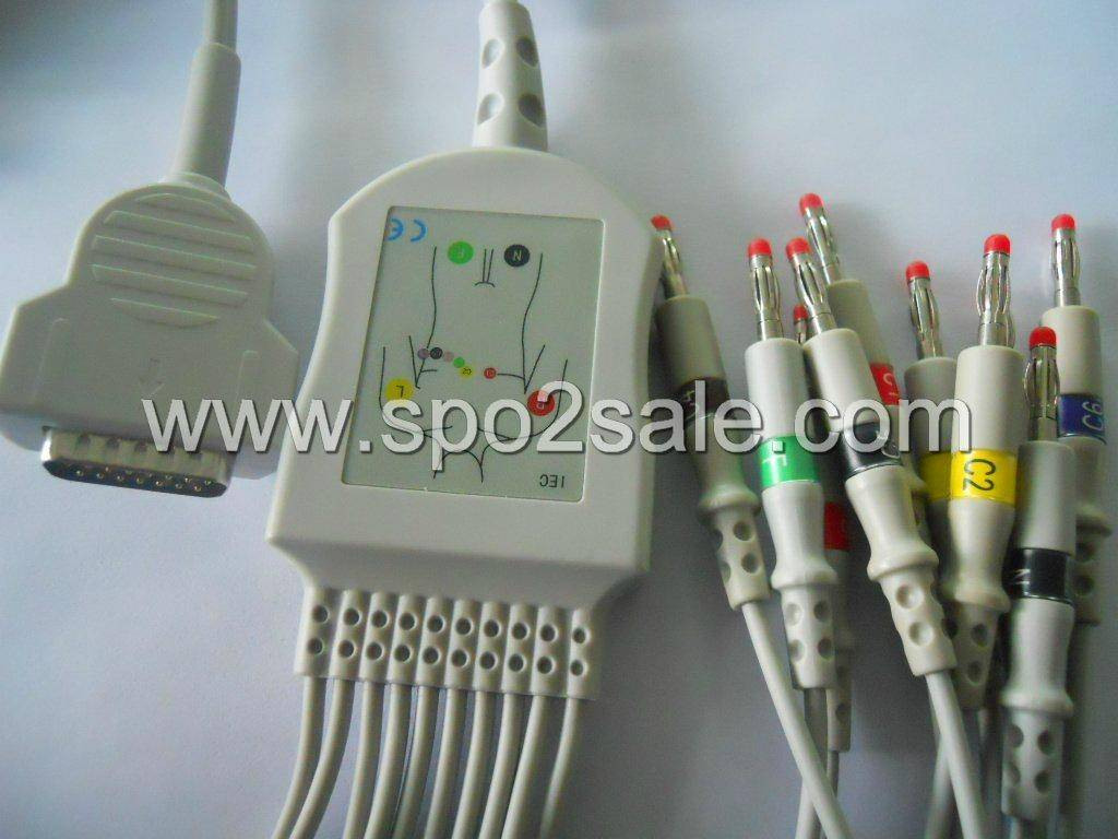GE-Marquette MAC-1200 one-piece ECG cable with leadwires