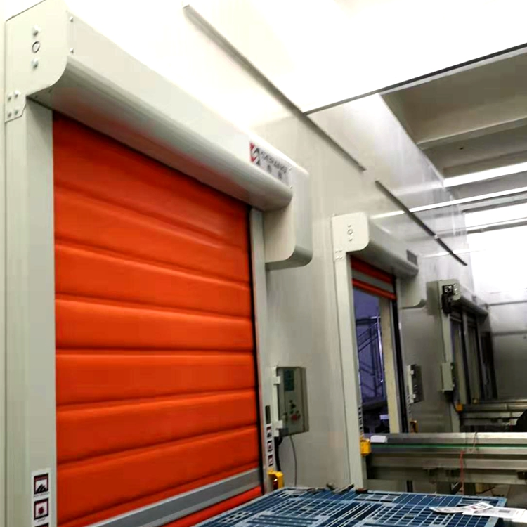 industrial automatic thermal insulated pvc fabric freezer rolling up door