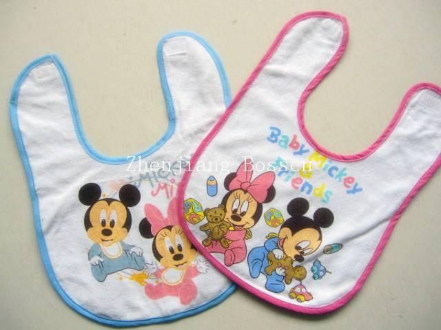 Custom made 100% cotton cartoon printing baby bib with terry cloth