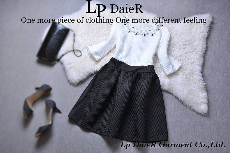 Black and white stitching nail bead dress