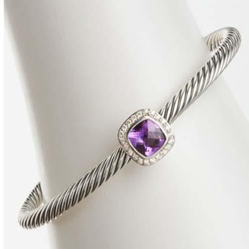 Sterling Silver 4mm Amethyst Noblesse Bracelet