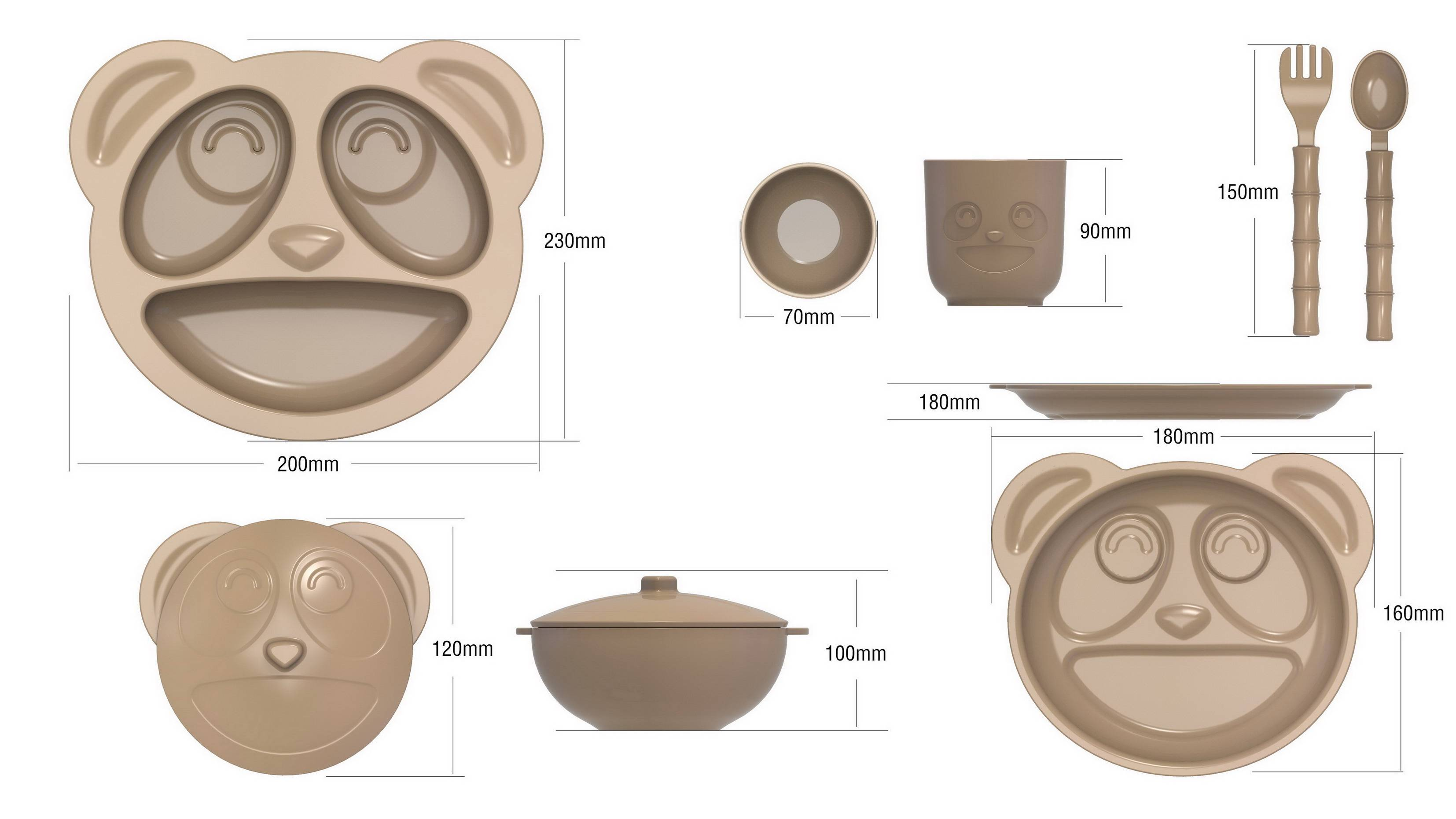 Eco friendly kids tableware from rice husks