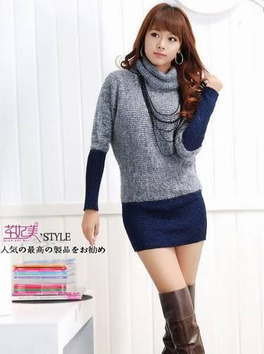 wear Batwing Sleeve Blue Sweater dress