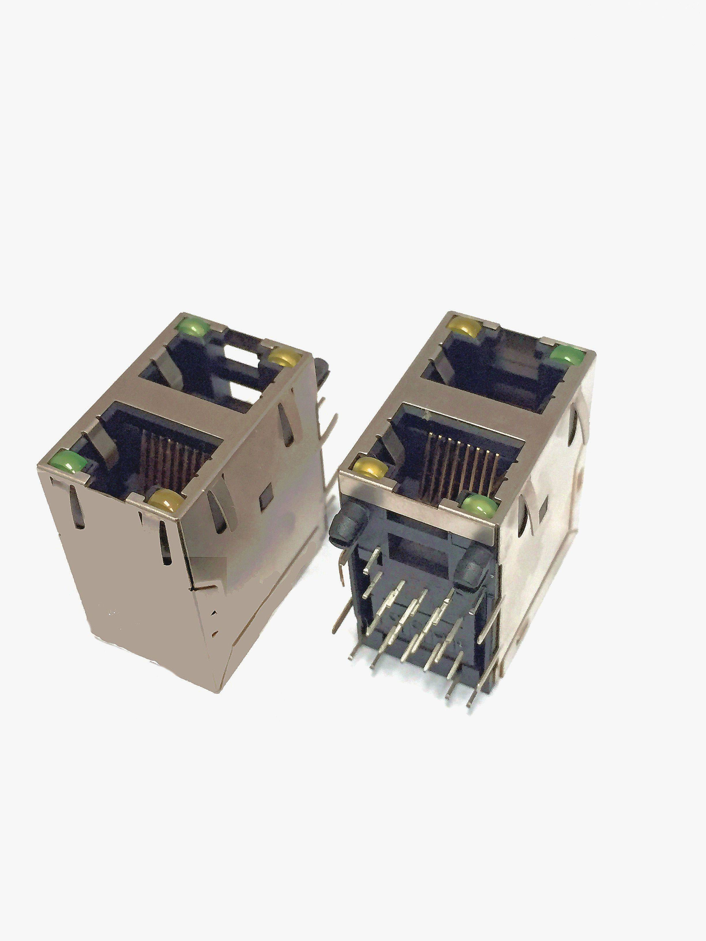 2 X 1 Port Stacked RJ45 Modular Phone Jack , 100 / 1000M Shielded RJ45 Connectors