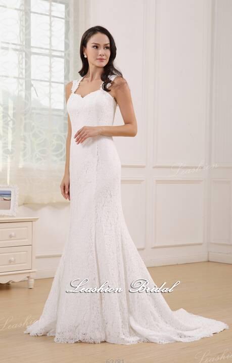 2015 New Elegant lace wedding dress-Lace+Satin