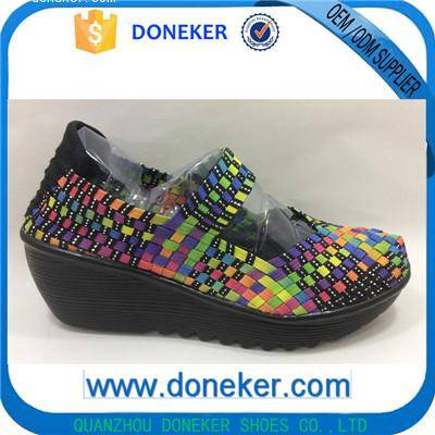 2016 fashion comfortable hand-made women elastic woven shoes