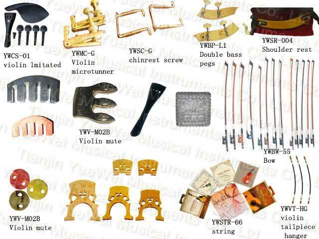Violin Parts, Microtunner, Chinrest,Screw,Peg,Shoulder Rest, Bow, String, Tailpiece Hanger, Bridge