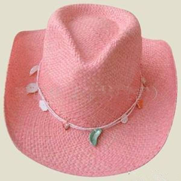 Fashion pink straw cowboy hat for ladies