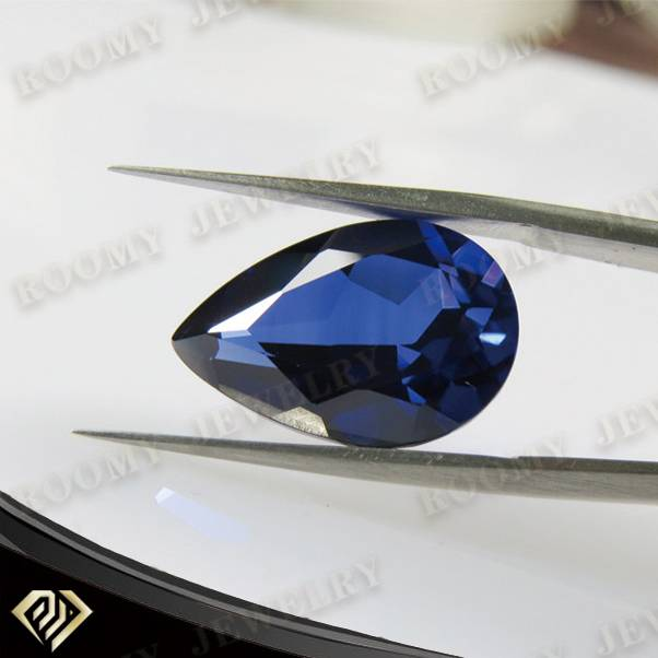 synthetic corundum 10x12mm pear blue sapphire