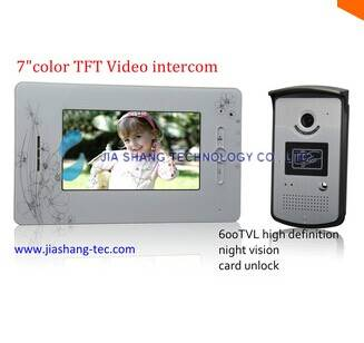 7 inch TFT colo video door phone intercom ,HD caemra,card unlock