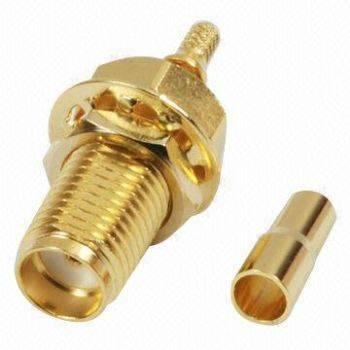 SMA45MWL-178 SMA Connector with Crimp Jack, Bulkhead for RG/178U Cable