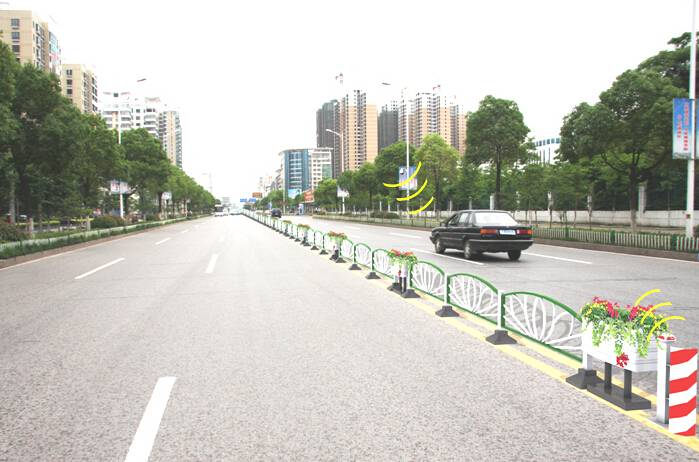 features road fence/barrier