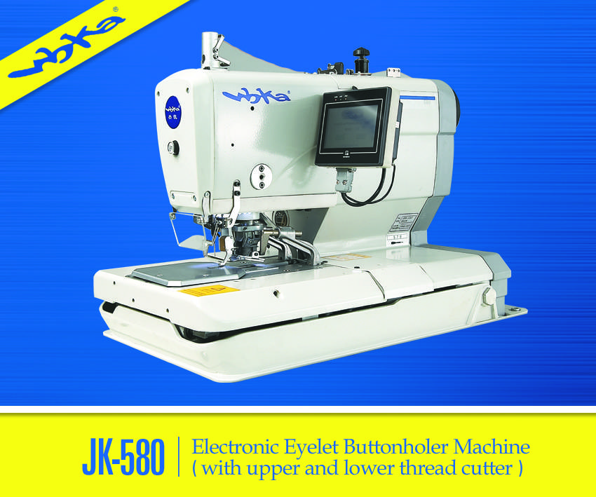 JK-580 Electronic Eyelet Buttonholing Sewing Machine with CNC Technology