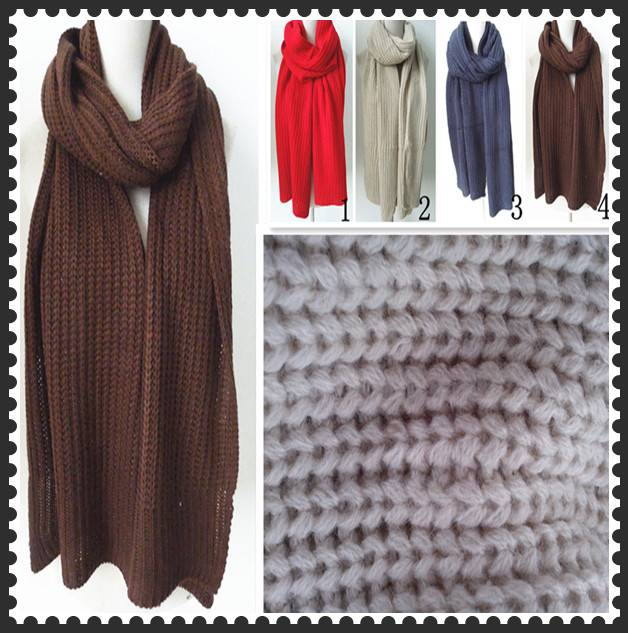 PG1213 unisex knitting coffee pure colour scarf warm kintted winter scarf