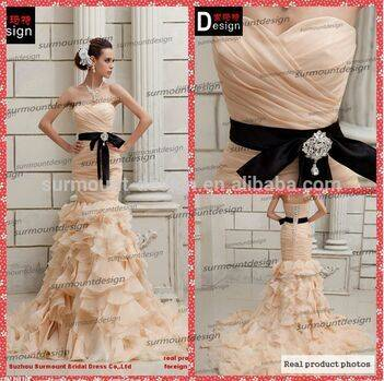 Surmount Professional Real Sample Sweetheart Champagne Organza Ruffle Mermaid Wedding dress 2015