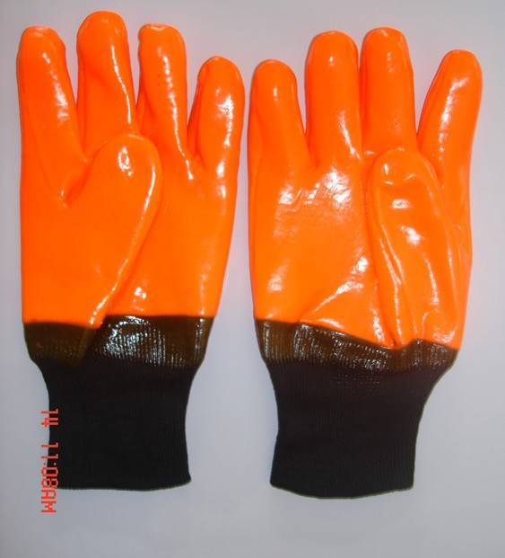 Fluorescent single dipped/coated PVC glove