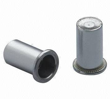 Stainless steel flat head round body rivet nuts, close end