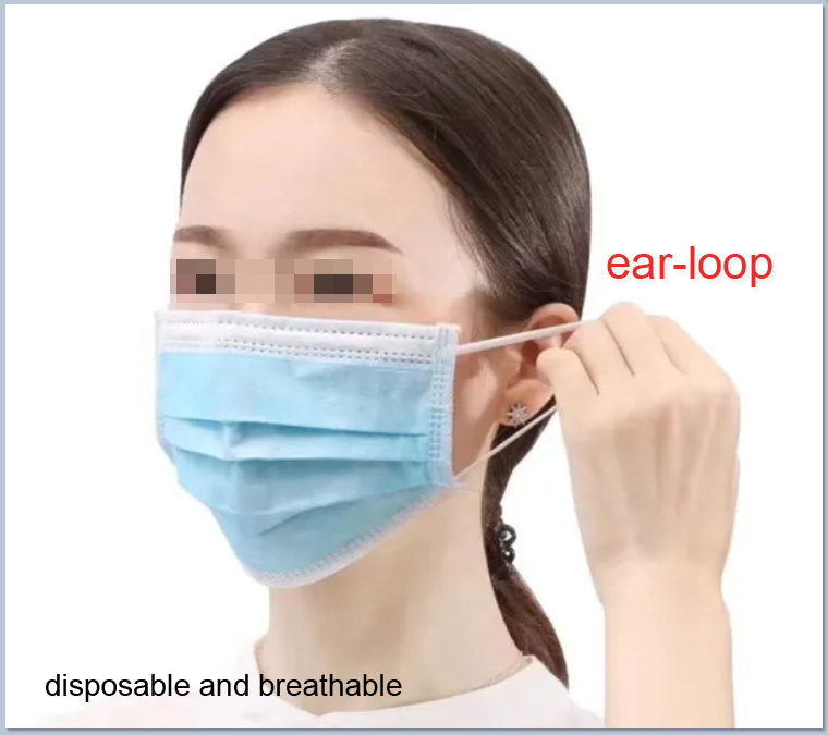 Quality-proved 3 ply disposable isolation facemasks in bulk nonwoven anti coronavirus