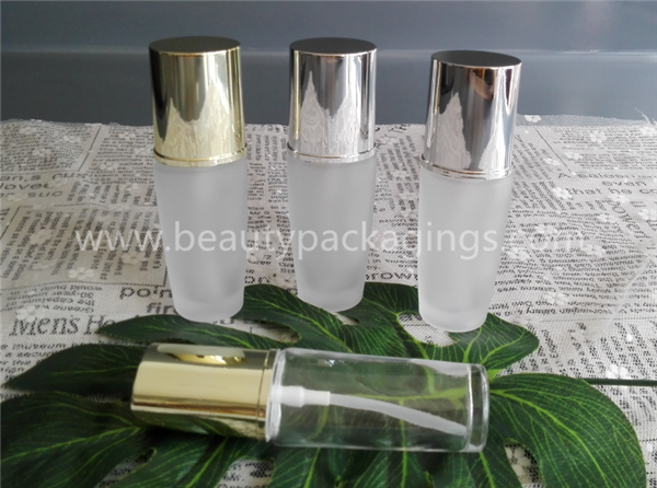 30ml Oval Matte Glass Essence Pump Bottle With Silver / Gold Cap