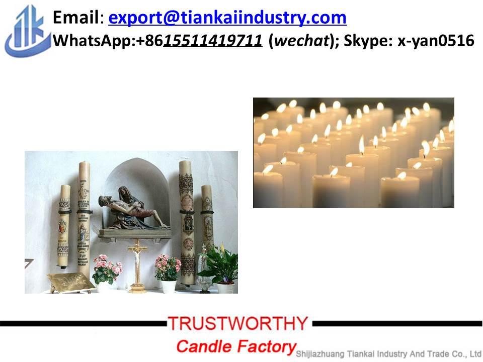 Church Use Paraffin Wax White Color Religious Candles Pillar