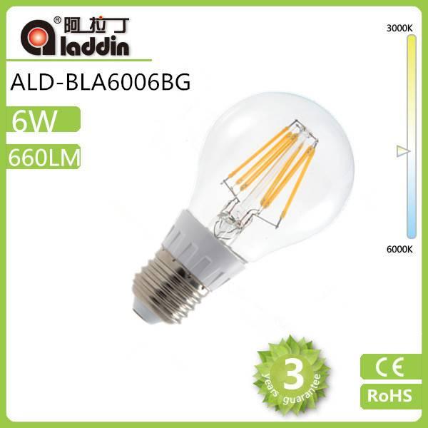 4W 5W 6W led filament bulb dimmable filament led bulb cob